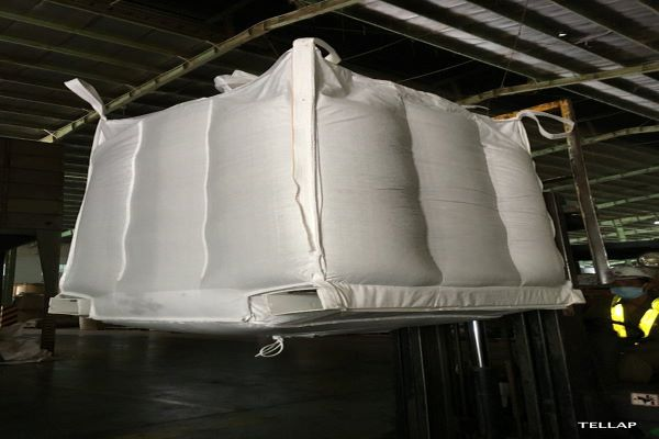 TELLAP pallet-free bulk bags for safe and environmentally-friendly packaging, storage and transportation of dry, loose and bulk products, including food commodities