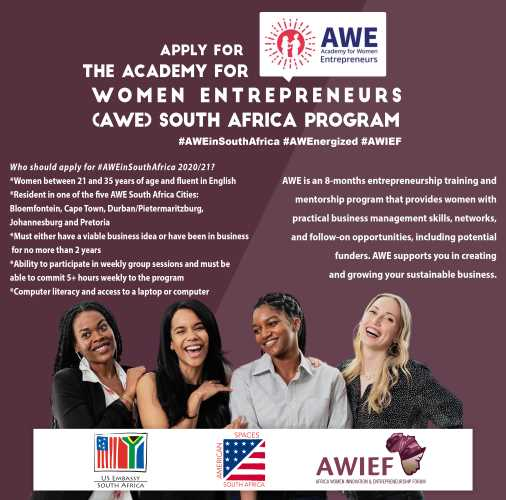 The U.S. Embassy and Africa Women Innovation and Entrepreneurship Forum announce The Academy for Women Entrepreneurs Program